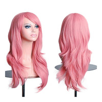 "27.5"" 70cm Long Wavy Curly Cosplay Fashion Mermaid Fantasy Wig heat resistant  pink"