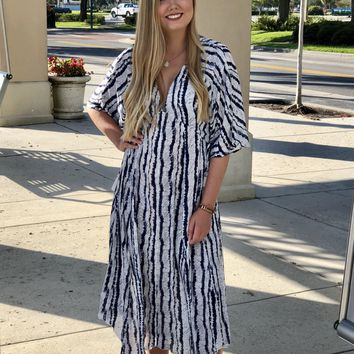 Watercolor Striped Maxi Navy Stripe