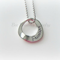 Hand Stamped Jewelry - Personalized Jewelry - Floating pendant