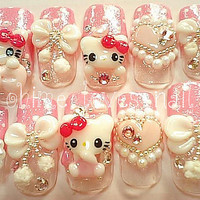 Japanese nail art pearly pink Winter love Hello Kitty by ohimenail