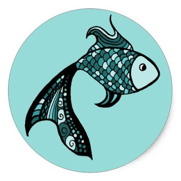 Teal Fish - Large Sticker