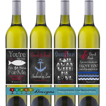 Nautical Anniversary Wine Bottle Labels Chalkboard Wedding Wine Lables Customized Personalized Set of 4