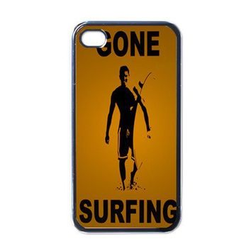 Apple iPhone Case - Gone Surfing Tin Sign Black Yellow - iPhone 4 Case | Merchanstore - Accessories on ArtFire