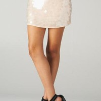 Light Peach Sequin Mini Skirt