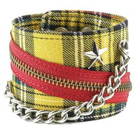 "Yellow Plaid w/ Star Stud Chain & Zipper Wristband Bracelet 2-1/2"" Wide"