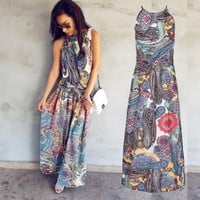 Gogoboi Multicolor Floral Print Button Split Front Flare Beach Wear Boho Maxi Dress Women Short Sleeve halter Long Dress