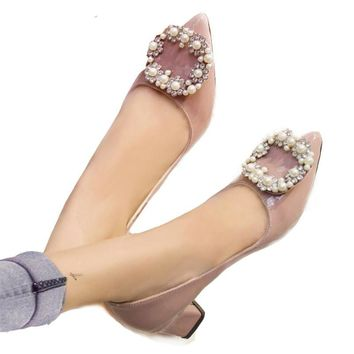 2018 HOT women pumps luxury handmade pearls women shoes square low heels pointed toe quality office party heels nude ALF503