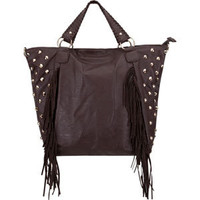 Stud Side Fringe Faux Leather Tote Bag