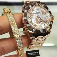 """Cartier"" Classic Fashion Personality Shiny Diamond Bracelet Screw Bracelet Accessories Jewelry I/A"