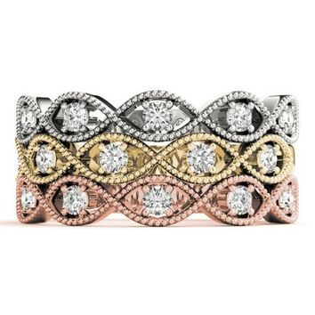 Stackables 1/2 Eternity Tri-Tone Gold Milgrain Infinity Diamond Accent 3-Band Set