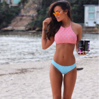 HOT CUTE HIGH NECK TWO PIECE BLUE PINK BIKINIS