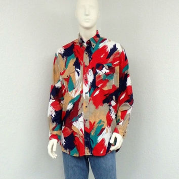 ON SALE Vintage 80s Roper Mens Western Shirt, Colorful Southwestern Shirt, Cowboy Shirt, Country Western Wear, Rodeo Shirt, Size L