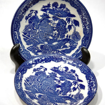 Blue and White Saucers Made In Japan China Plate Vintage Oriental Design Navy Cobalt Blue and White