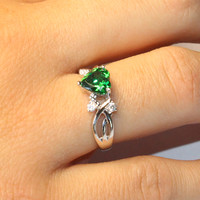 Emerald Heart Shaped Ring – Green Cubic Zirconia on Hand