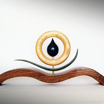 Elemental Waterdrop - Wood Sculpture - Deep Blue Water Drop on Black Walnut wave base - Art by TheArtistTerand