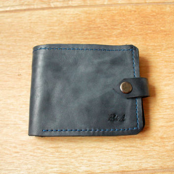 mens leather wallet minimalist wallet personalized wallet blue leather wallet handmade wallet mens gift bifold wallet leather coin purse