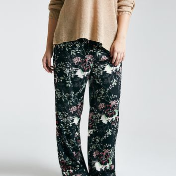Plus Size Flower Print Drawstring Pants | Wet Seal Plus