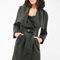 Wool Wrap Coat in Charcoal :: tobi