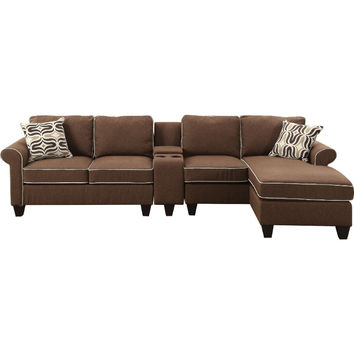 Acme 54250-52-53 3 pc Kelliava chocolate fabric modular sectional sofa with USB power dock console