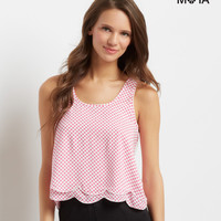 Aeropostale  Dotted Scalloped Racerback Tank
