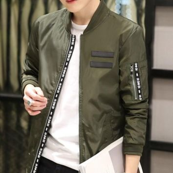 Mens Army Green Round Neck Bomber Jacket