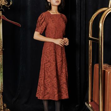 [OH.L] PUFF SHOULDER BUTTON LACE DRESS_ORANGE BROWN