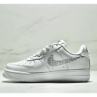 NIKE Air Force 1 Low Fashion New Hook Letter Print Running Leisure Women Men Shoes White