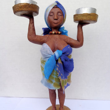 Candle holder Sweet lady. Paper mache. Papier mache dolls. Paper mache doll