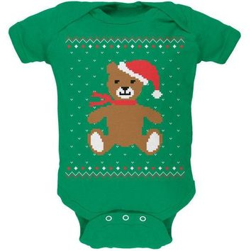 CREYCY8 Ugly Christmas Sweater Big Teddy Bear Kelly Green Soft Baby One Piece