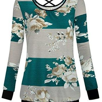 Bebonnie Womens Long Sleeve Floral Print Blouse Striped Open Back Shirt Tops