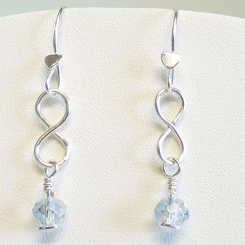 Wirework Earrings - Silver Infinity Shaped Dangles with Crystals, Pierced Ears, Hand Crafted, Hand Forged