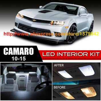 Free Shipping 6Pcs/Lot car-styling Xenon White Canbus Package Kit LED Interior Lights For 10-15 Chevy Camaro