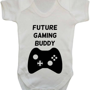Future Gaming Buddy Xbox Controller Style Parody Gamer Parents Gift Baby Onesuit Vest