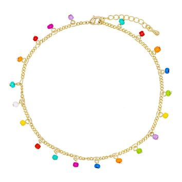 Rainbow Figaro Chain Anklet