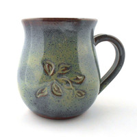 Blue-Green Rustic Ceramic Coffee Mug with Leaf Detail