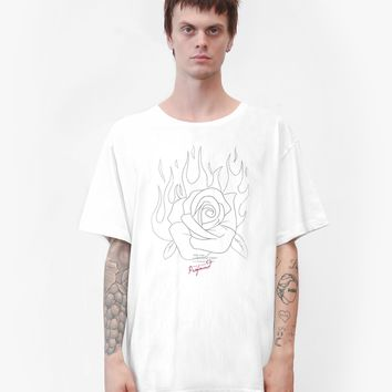 Burning Rose Drawing Graphic Printed Tee