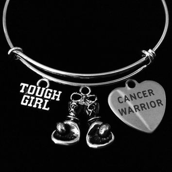 Cancer Warrior Fighter Tough Girl Adjustable Bracelet Expandable Silver Charm Bangle Inspirational Gift Boxing Gloves