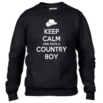 keep calm and date a country boy Crewneck sweatshirt