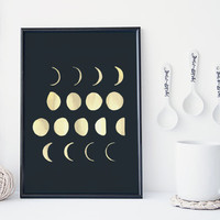Moon phase wall art print, astronomy poster, moon print, home wall decor, apartment wall art, modern print, moon poster, simple, gift