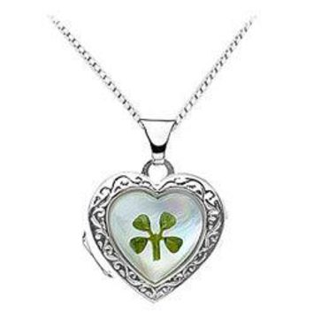 Sterling Silver Mother of Pearl Heart Shaped Locket with a four leaf clover - 16.57 X 15.10