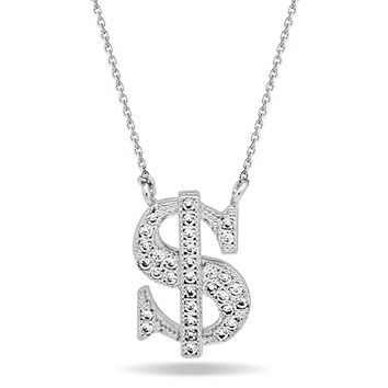 Dollar Sign Necklace,Silver Plated Dainty Gold Necklace, Dainty Delicate Necklace