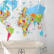 World Map Shower Curtain- Multi One