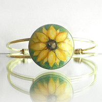 Sunflower Bracelet Hand Painted Bracelet, Hand Jewelry,  Painting on Wood, Gold Plated Brass Bracelet Handmade Bracelet by Artdora