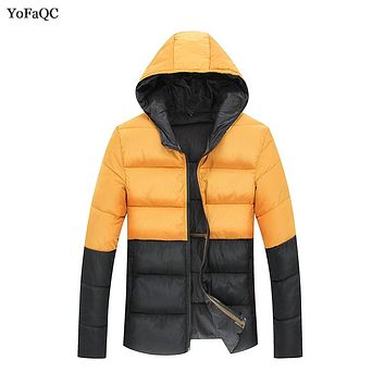 2017 Winter Parka Men Jacket Coat Outerwear Fashion Hood Padded Quilted Warm Two-color patchwork Jackets Hooded Casual Wadde