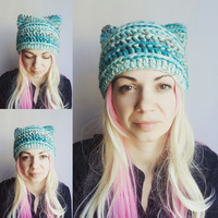Turquoise chunky Pussy Hat Blue Cat Hat Crochet Hat with Ears Animal Hat for Girls Women Cat Hat Chunky Brown Spotted Hat Crochet Gift