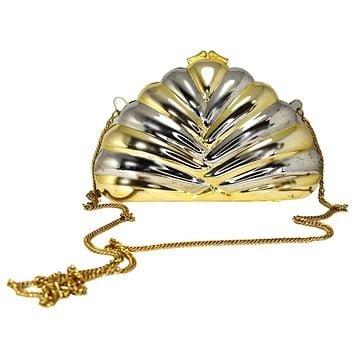 Deco Style Metal Puffy Fan Evening Bag or Clutch Two Tone Metal