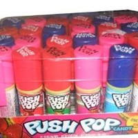 Push Pop Candy, Cotton Candy Bubble Gum Assorted Flavors - 24 ct.