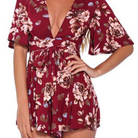 Multicolor Floral Plunge V-neck Kimono Sleeve Romper Playsuit
