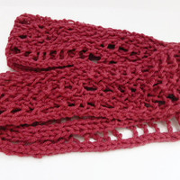 Raspberry infinity scarf, hand knit deep pink fashion soft acrylic scarf, UK shop