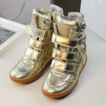 Gold women casual velcro high cut sneakers genuine leather latest multi-color sport shoes for ladies hot